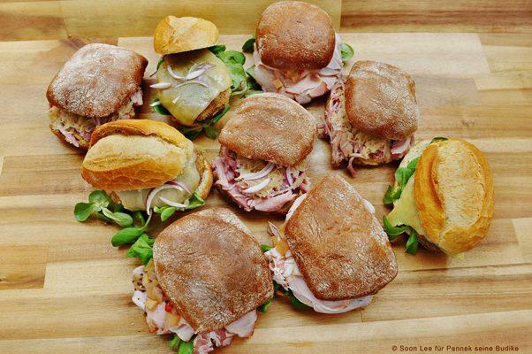 Altberliner Sandwiches (Kasseler, Bulette, Eisbein) von Pannek seine Budike Catering
